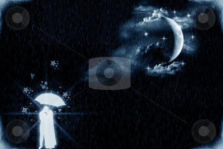 Lovers moonlight stock photo, Two young lovers under an umbrella and by the moonlight by Dario Rota
