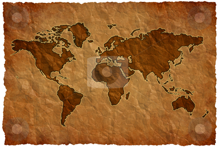 Crumple paper world map stock photo, World map on crumple sheet background by Dario Rota