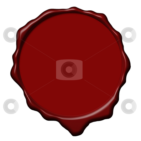 Red wax empty seal stock photo, Empty red wax seal used to sign and close the royal letters by Dario Rota