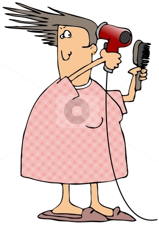 Woman Blow Drying Her Hair stock photo, This illustration depicts a woman using an electric hair dryer. by Dennis Cox