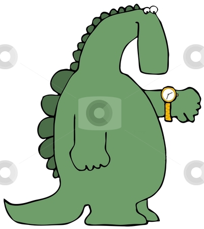 Dinosaur Time stock photo, This illustration depicts a dinosaur checking his watch. by Dennis Cox