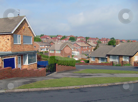 Housing estate stock photo, Houses on modern housing estate development, Scarborough, England. by Martin Crowdy