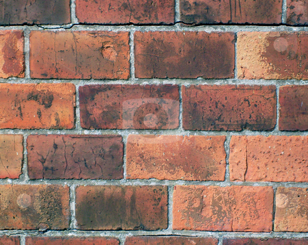 Red bricks in wall stock photo, Detail of red bricks in wall. by Martin Crowdy
