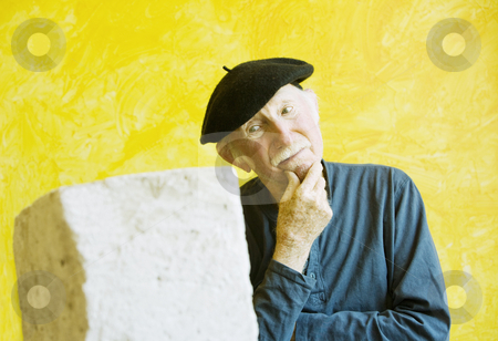 Creative Block stock photo, Artist ponders a block - shot includes copy space by Scott Griessel