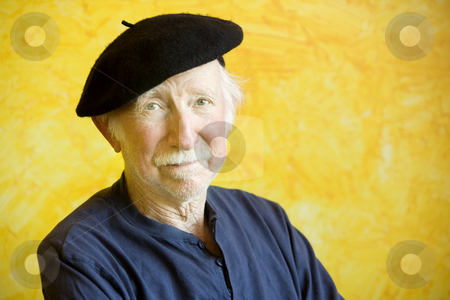Artist with a Beret  stock photo, Portrait of an elderly painter wearing a beret by Scott Griessel
