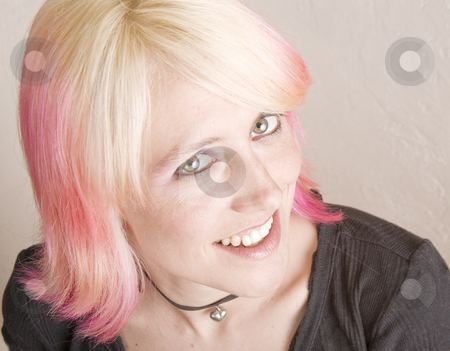 Punk Girl with Brightly Colored Hair stock photo, Close-Up of a Punk Girl with Brightly Colored Hair by Scott Griessel