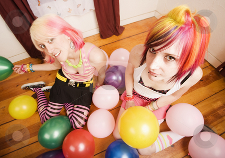 Girls With Balloons stock photo, Two punk girls in a room with colorful balloons by Scott Griessel