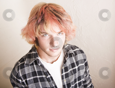 Punk Boy with Brightly Colored Hair stock photo, Close-Up of a Punk Boy with Brightly Colored Hair by Scott Griessel