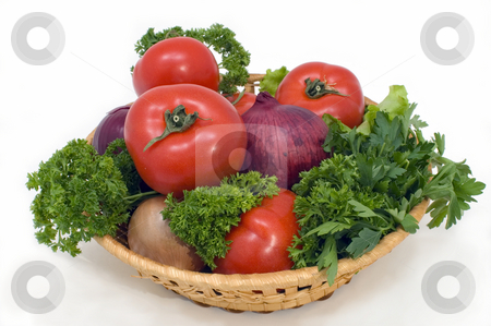 Fresh vegetables. stock photo, Fresh vegetables in a basket on a white background. by Yury Ponomarev