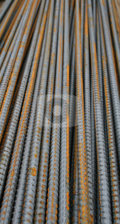 Steel Rods stock photo, Steel rods used in construction, useful for backgrounds, pattern, design by Tom and Beth Pulsipher