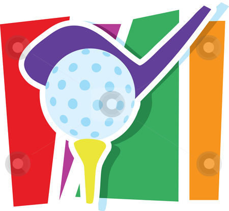 Golf Graphic stock photo, A golf club and ball on a stylized striped background by Maria Bell