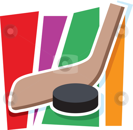 Hockey Graphic stock photo, A hockey stick and puck on a stylized striped background by Maria Bell