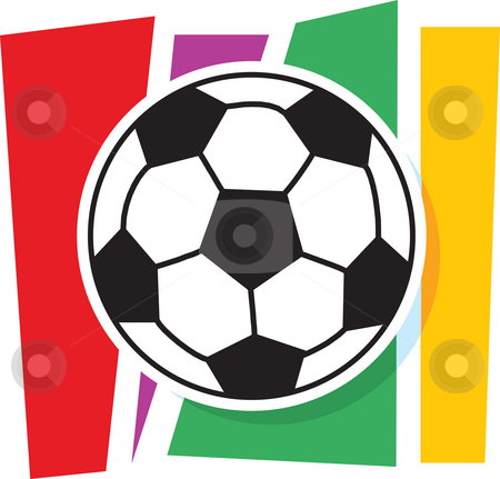Soccer Graphic stock photo, A stylized soccer ball on a striped background by Maria Bell