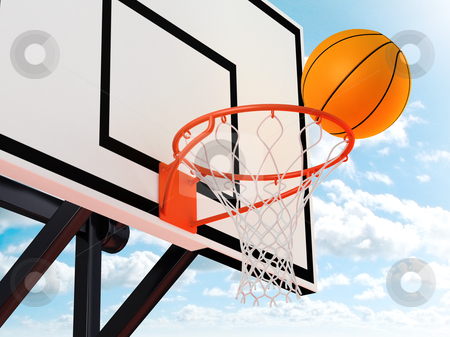 Basketball stock photo, illustration Basket ball and board view to low by Giordano Aita