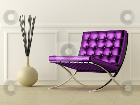Violet leather seat stock photo, Violet leather modern style seat in white room by Giordano Aita