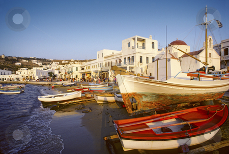 Mykonos, Greek island stock photo, Beach and harbor off the main street of the Greek island of Mykonos by Christian Delbert