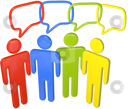 People talk social media in 3D speech link stock photo, People in colors talk social media in 3D speech bubbles linked in a chain by Michael Brown