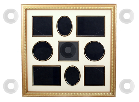 Picture frame for collection of 9 small pictures stock photo, Picture frame with 9 empty spots for you to paste in  by Gunter Nezhoda