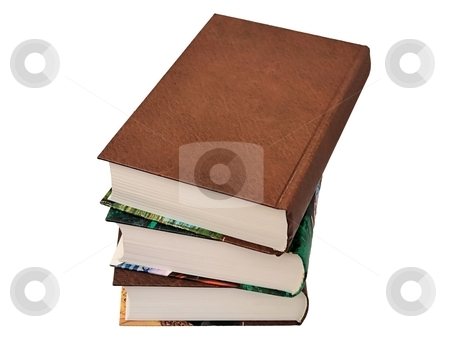 Three books  stock photo, Three books isolated on a white background by Sergey Gorodenskiy
