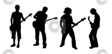 Guitar players stock photo, black silhouettes of four young guitar players by Robert Remen