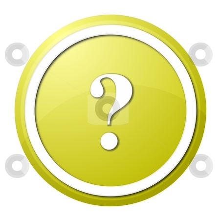 Yellow question mark round button stock photo, round question mark button with white ring for web design and presentation by Henrik Lehnerer