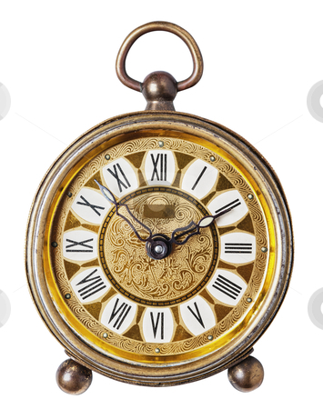Antique clock isolated. stock photo, Golden antique clock isolated, white background, clipping path. by Pablo Caridad