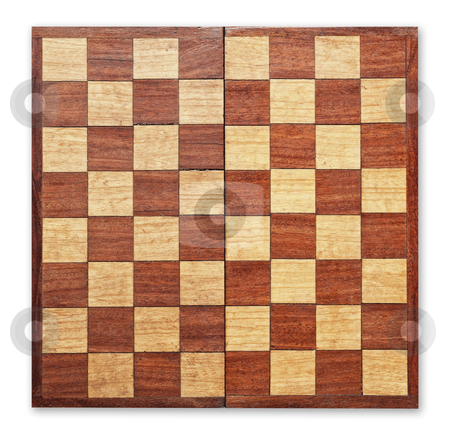 Old wooden chess board isolated. stock photo, Old wooden chess board isolated, clipping path. by Pablo Caridad