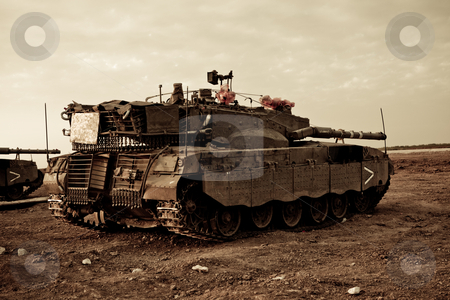 Merkava Mk 4 Baz Main Battle Tank stock photo, Israeli Palestinian conflict. Israeli military operation Cast Lead. Israeli tank Merkava ( Mercava)  Mk 4 on border with Gaza strip by Dmitry Pistrov