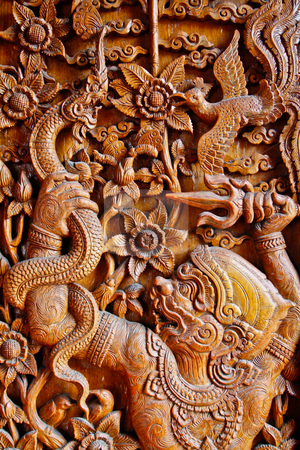 Mokey tale wooden stock photo, Animal tale in thai temple. by smileidea
