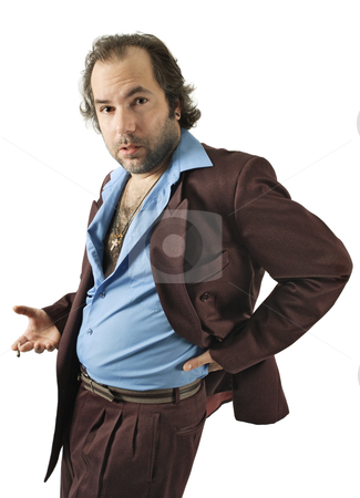 Sleazy car salesman stock photo, A sleazy car salesman, Con man, retro suit wearing man with bizarre facial expression. by © Ron Sumners