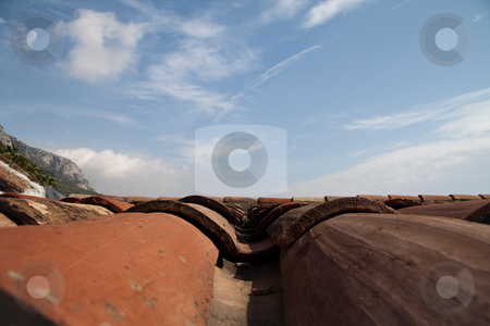 Clay Tile Roof stock photo, A artistic view of red clay roof tiles by Kevin Tietz