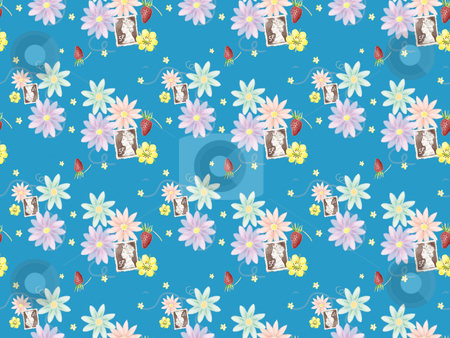 Seamless pattern - 20046 stock photo, Freehand drawing- blue background wrapping seamless pattern   by Tang Shu-chuan