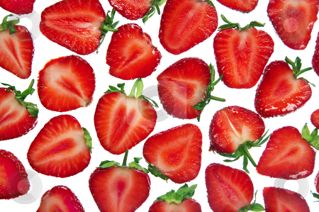 Cut fresh strawberry stock photo, cut fresh strawberry on a white background by krasyuk