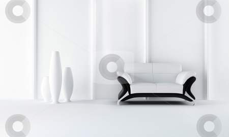 Black and white modern style sofa stock photo, Modern style sofa in white luminous room by Giordano Aita