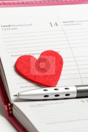 14 february stock photo, Pen, heart and notebook by Olena Kornyeyeva