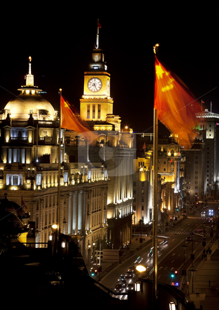 Shanghai Bund at Night China Flags Cars stock photo, Shanghai China Bund at Night Cars, Flags by William Perry