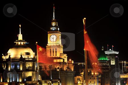 Shanghai Bund at Night China Flags Clock stock photo, Shanghai China Bund at Night Clock Flags by William Perry