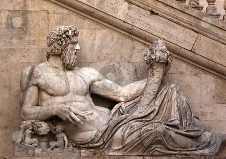 Statue of Roman Age Representing Tiber Dynasty Capitoline Hill R stock photo, Statue of Roman Age Representing Tiber Dynasty Capitoline Hill Rome Italy   by William Perry