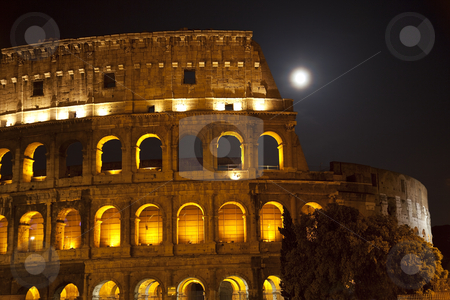 Colosseum Large Moon Details Rome Italy stock photo, Colosseum Large Moon Details Rome Italy Built by Vespacian   by William Perry