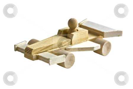 Toy Race Car on White stock photo, Wooden toy race car with driver on white background by Walter Ulloa