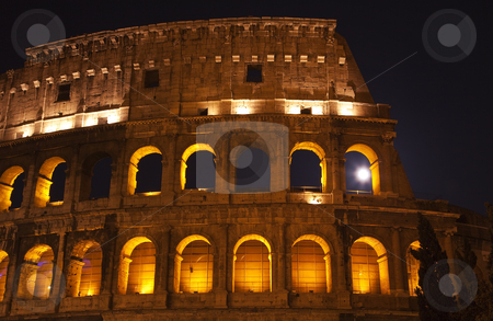 Colosseum Moon in the Window Close Up Details Rome Italy stock photo, Colosseum Moon in the Window Close Up Details Rome Italy Built by Vespacian   by William Perry