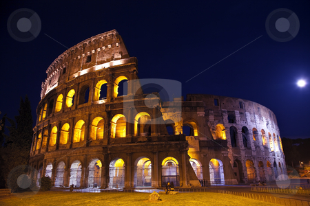 Colosseum Overview Moon Night Rome Italy stock photo, Colosseum Overview Moon Night Lovers Rome Italy Built by Vespacian   by William Perry