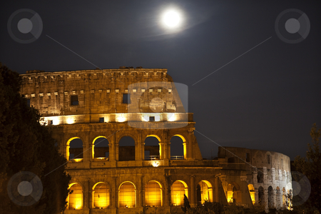 Colosseum Moon Stars Rome Italy stock photo, Colosseum Moon Stars Night Rome Italy Built by Vespacian   by William Perry
