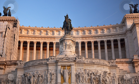 Vittorio Emanuele II Monument Front Facade Tomb of Unknown Soldi stock photo, Vittorio Emanuele II Monument Tomb of Unknown Soldier Front Facade Central Rome Italy Builit in 1921   by William Perry