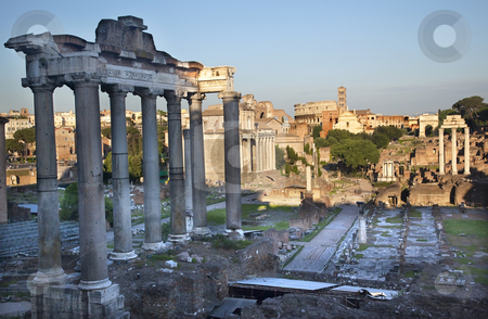 Forum Overview Center Road Rome Italy stock photo, Forum Overview Main Road, Temple of Saturn, Temple of Castor and Pollux, Colosseum Titus Arch Rome Italy   by William Perry