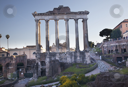 Temples of Saturn Forum Rome Italy stock photo, Temple of Saturn Forum Rome Italy   by William Perry