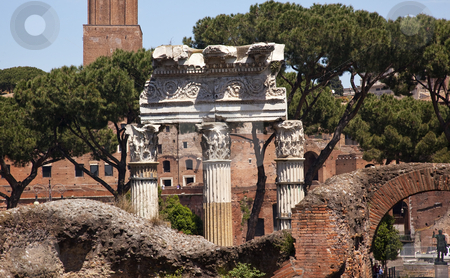 Columns Forum of Julius Ceaser Rome Italy stock photo, Forum of Julius Caesar, Trajan Market in Background Rome Italy   by William Perry