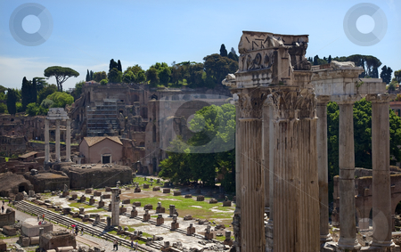 Forum Overview Rome Italy stock photo, Forum Overview Temple of Saturn, Temple of Castor and Pollux Rome Italy   by William Perry