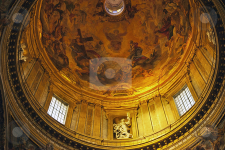 Gesu Jesuit Church Golden Dome Cuplola Paintings Rome Italy stock photo, Chiesa del Gesu Church Golden Dome Cupola Statues and Paintings Built in Late 16th Century by the Jesuits Rome Italy A prototype of a counterreformation church.  Built in 1568-1584   by William Perry