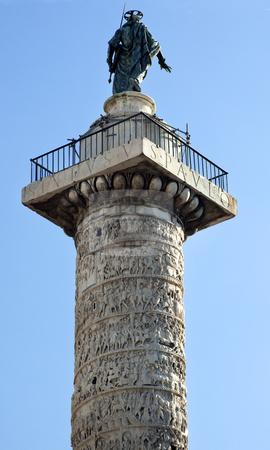 Marcus Aurelius Column Piazza Colonna Rome Italy stock photo, Marcus Aurelius Column Piazza Colonna Rome Italy   by William Perry